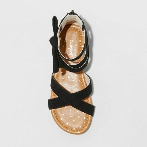 Cat /& Jack Girls Rayna Microsuede Gladiator Sandals Strappy Black Size 2